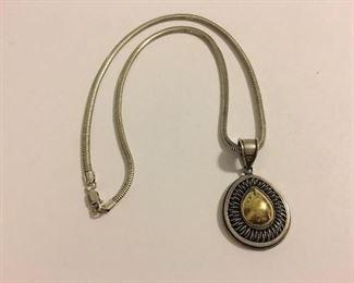 FINE 18K & Sterling Silver Pendant w/ Necklace