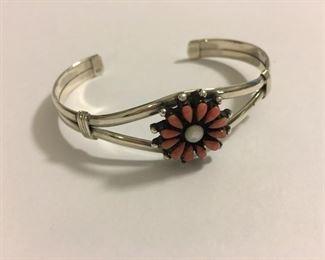 Fine Sterling Silver Native American Pink Pearl Cuff Bracelet
