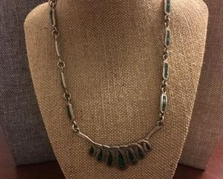 Sterling Silver Zuni-Style Turquoise Inlay Tribal/Southwestern Necklace