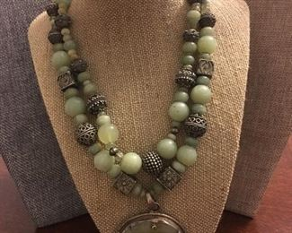 FINE Jade & Sterling Silver Very HEAVY Statement Necklace - this is a stunning piece!