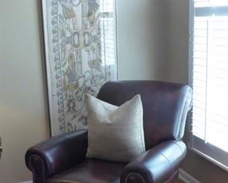 Leather Club Chair with Brass Nail Detail