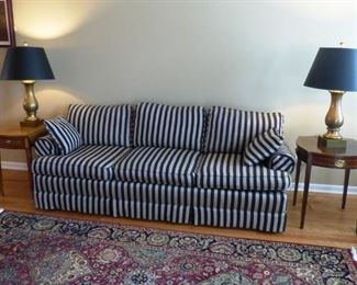 Black & Grey recently upholstered sofa. Kinde. Drop leaf lamp table. Pair Visual Comfort Brass Table Lamps