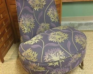 1950s slipper chair professionally upholstered in a dramatic purple and gold floral print