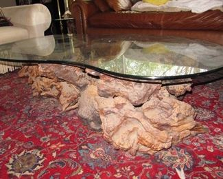 Driftwood and glass coffee table (rug not for sale)