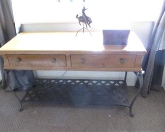 Ethan Allen iron base table with drawers