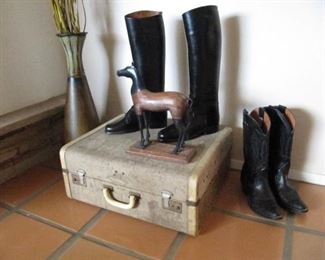 vintage suitcase, Nocona western boots and lace up custom english boots ladies size 7