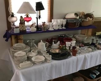 Oil lamp, Milk Glass, China, Longaberger baskets, Silver Trays, Hen on Nest, Silver plate flatware, service for 11 in wood chest