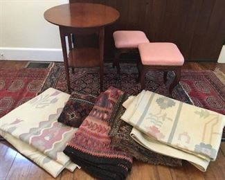 rugs, american cherry table, french carved stools