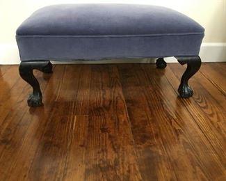 velvet antique clawfoot bench