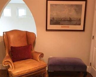 velvet bench, boston print, chair