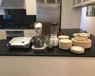 kitchen plates and appliances
