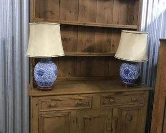 irish pine hutch and antique chinese lamps with silk shades