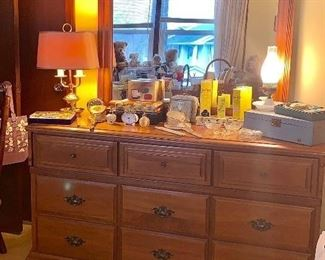 Maple dresser w/mirror, tall dresser and night stand