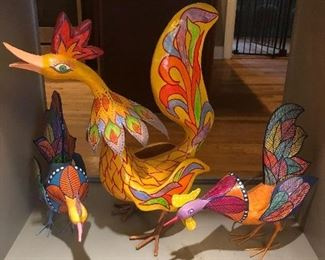 "Colorful chickens from Curasao.  Large 23"", Small 16"" ."