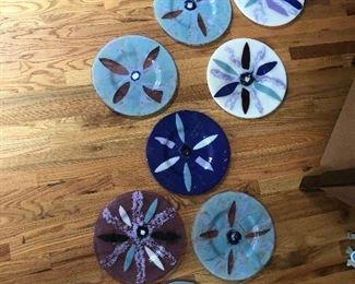 """Art glass dinner plates  - 12 1/2"""" diameter sparkle.  Each plate is a beautiful work of art."""
