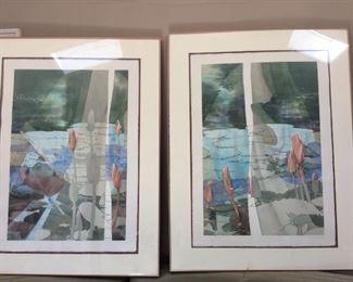 "Allison Christie - Dancing Kimono (Original Watercolor) 51 x 49.5"" each"