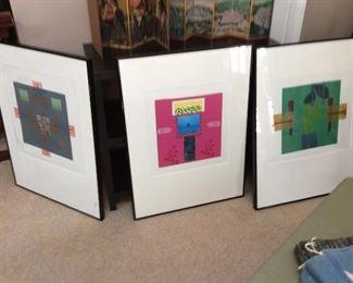 "Three mixed-media framed art pieces signed D.O.B.  (30.5 x 20.5"" each)"