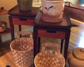 Asian Inspired Side Tables, Corn Husk Baskets, Ron Meyers Pottery, Pottery Jug
