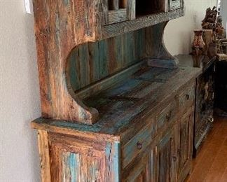 Rustic/Distressed Wood Turquoise China Cabinet Hutch Reclaimed Wood82x60x20in HxWxD