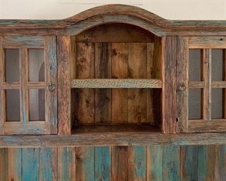 Rustic/Distressed Wood Turquoise China Cabinet Hutch Reclaimed Wood	82x60x20in HxWxD