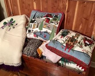 Assorted  Pillows and Hand Embroidered Spread