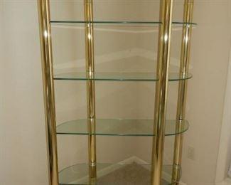 Glass & brass 4 shelf