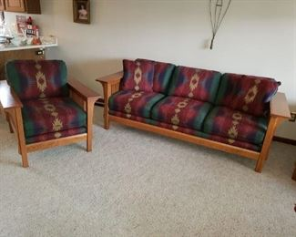 """Bassett  Mission style 86"""" couch, $225, two chairs and recliner, $125 ea.,  Excellent condition"""