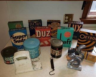 Original FULL vintage soap boxes (Ivory Snow is only empty one), Vintage tins, Vintage Egg grader.  (Nutcracker not available)