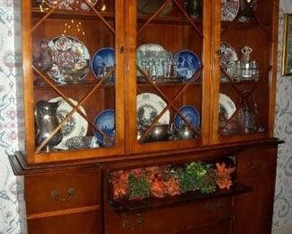 "Tall classical china cabinet and secretary bookcase, 77""x59."" Fine Furniture, Saginaw, MI."