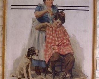 """Haircut Mom,"" oil on canvas, by Harold N. Anderson (American, 1894–1973).  This image appeared on the cover of the Nov. 11, 1933, ""Saturday Evening Post."" Anderson lived/worked in New Rochelle,  New York, well-known artist's colony & home to many top commercial illustrators of the day such as Norman Rockwell & J. C. Leyendecker. Anderson created artwork for magazines, billboards, posters and national advertising campaigns."