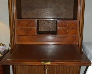 View of open flip door for secretary desk.
