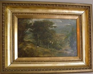 Cattle in landscape, antique oil on canvas; no visible signature. From shop of Henry Whyte, Edinburgh, and framed by Clark & Napler, Edinburgh (both labels are on the back). The Whyte family by the 1880s compiled books of songs and readings for city pubs hosting Cel-lidh, or social events with Scottish or Irish folk music singing, dancing, storytelling.