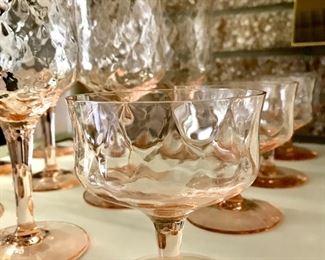 Antique glass stemware, pink glass, blush glass