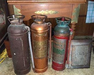 Antique Brass fire extinguishers