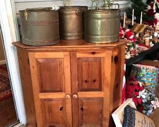 Pine corner cabinet and brass buckets.  ***** I'm sorry but the churn has been pulled from the sale.*****