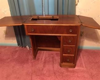 sewing machine cabinet--open