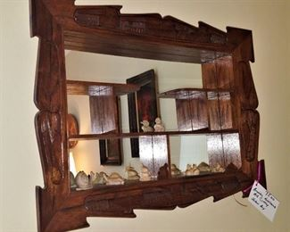 Carved mid century mirrored shadowbox with tiny carved figurines