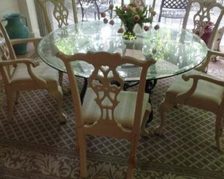 """60"""" Baker Round Glass Top, Cast Iron Base Table with 6 Chairs, $1,500 for all"""