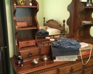 This is the mirrored dresser that is part of a three-piece bedroom set -- quite nice!