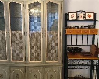 solid  wood -thomasville  lighted china cabinet-thick glass shelves- tons of storage - quality all the way