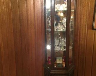 Lit glass backed slender display case