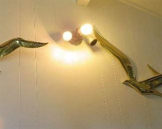 Brass bird wall art