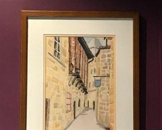 Contemporary Watercolor, Italian street scene