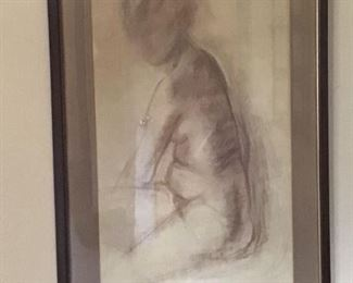 Beautiful drawing of a three quarter female nude