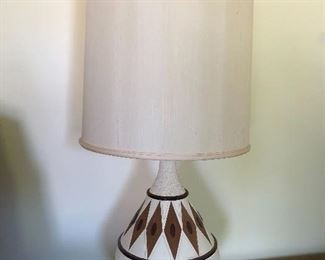 Mid Century Lamp x 2 Teak base and inlay diamonds