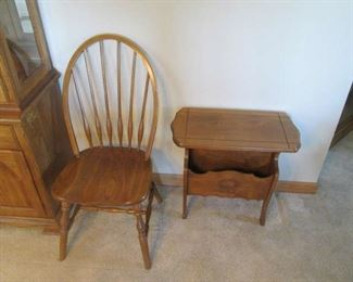 Oak chair and end table