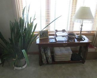 Sofa table and plant
