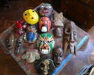 masks from 11 countries. exceedingly rare cannibal mask from south pacific.