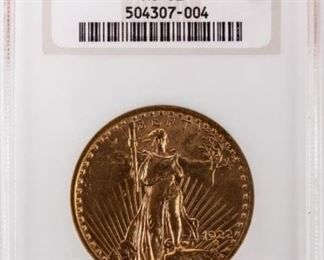 Lot 12 - Coin 1922 Saint Gaudens $20 Gold NGC MS62