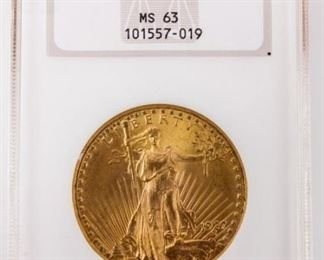 Lot 297 - Coin 1927 Saint Gaudens $20 Gold NGC MS63
